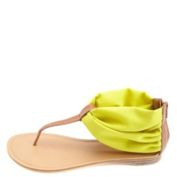 Qupid Chiffon Ankle Cuff Thong Sandals by Charlotte Russe - Yellow