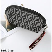 FENDI Hot Sale Women Retro Zipper Toiletry Handbag Cosmetic Bag Purse Wallet Dark Grey