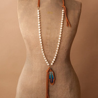 Serape Feather and Freshwater Pearl Necklace