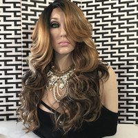 Sharon Hi lite Brown Loose Layers Hair Lace Front Wig 25""