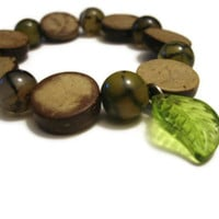 Bohemian Woodland Bracelet with Leaf Charm, Amber Agate and Wood Beads, Stretchy Cord