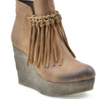 Sbicca Zepp Fringe Wedges-tan