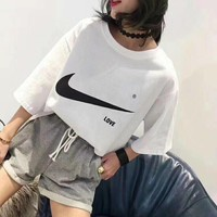 """Nike"" Summer Women Loose Casual Logo Print Short Sleeve T-shirt Shorts Set Two-Piece Sportswear"