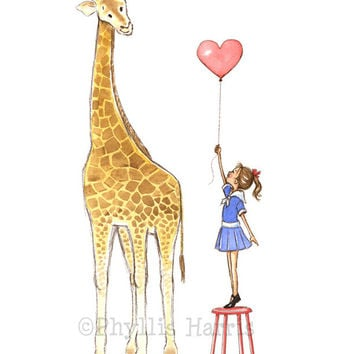 Giraffe and Little Girl - Children's Room Décor