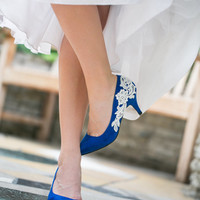 Bridal Shoes - Cobalt Blue Wedding Shoes, Wedding Heels with Ivory Lace. US Size 8.5