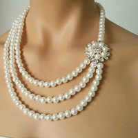 Pearl Necklace, Wedding Necklace, Bridal Jewelry with Crystal Flower, Three Strands Swarovski Plated Magnet Clasp Spain Wind-FREE SHIPPING