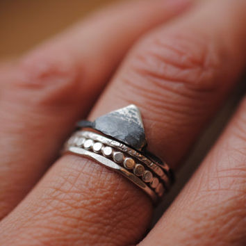 Small Darkened Mountain Ring   Sterling Silver