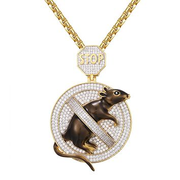 No Rats Snitching Stop Emoji Icy Circle Gold Tone Pendant Chain