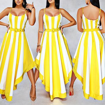 Fashionable Sexy Women's Dresses Spliced Stripe Printed Big Pendulum Tri-color Dresses Only one piece Sapphire