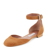 Tabitha Simmons Lina Suede Ankle-Wrap Flat
