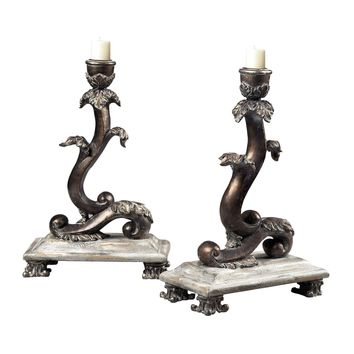 Set Of 2 Scroll Candle Holders