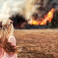 Fine Art Photography Print, Forest Fire, Disaster, Woman with Windswept Hair Watching the Flames, 16 x 24 Print