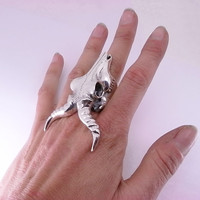 Huge Sterling Silver Antelope Skull Ring