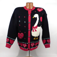 Ugly Christmas Sweater Vintage Cardigan Goose Holiday Tacky Women's size M
