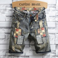 Summer Pants Strong Character Vintage Men Ripped Holes Jeans [1574711197789]