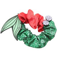 Licensed cool Disney Little Mermaid Ariel Tail Sea Shell Hair Tie Scrunchie Pony Tail Holder