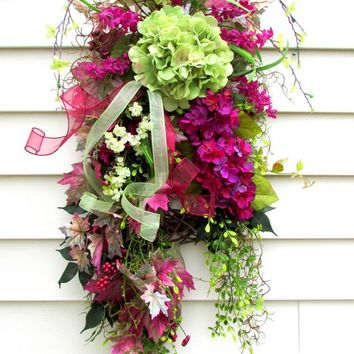 Swag for door, teardrop swag, Front door swags, country rustic swag, wreath swag, Spring Summer Fall, front porch decor