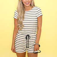 All For Your Love Striped Romper