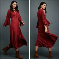 """""""Free People"""" Fashion Solid Color Retro Hollow Strappy Long Sleeve Maxi Dress"""