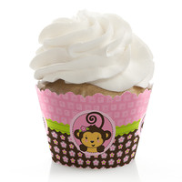 Baby Shower Cupcake Wrappers - Monkey Girl