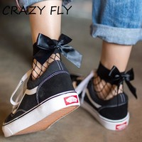 CRAZY FLY Fashion Black Breathable Bow knot Fishnet Socks Women Harajuku Sexy Sock Hollow Nets Transparent Mesh Socks 2018