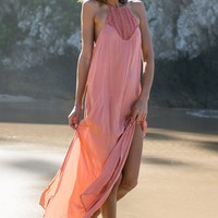 Moscow Crochet Maxi Dress - Papaya Pink