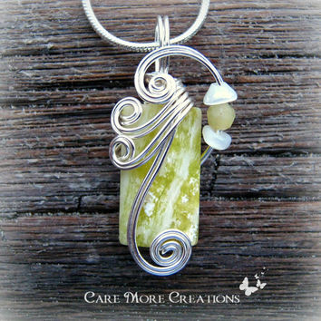 Wire Wrapped Pendant - Yellow Lemon Jasper Necklace in Silver