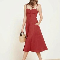 Fashion High Waist Multi-Buttons Backless Sleeveless Strap Solid Color Dress