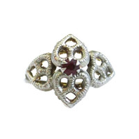 Vintage Heart Ring with Ruby Rhinestone In Pewter Tone Heart Ring Ruby Rhinestone Ring Solitaire Ring