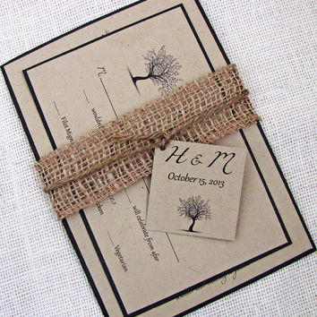 Rustic Black and Kraft Tree Wedding Invitation Deposit Listing