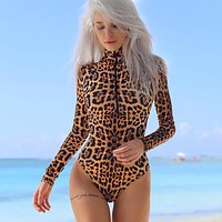 Slim One-piece Winter Sexy Leopard Zippers Long Sleeve Bottoming Shirt [167762329615]