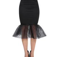 Black Gauze Bodycon Midi Skirt