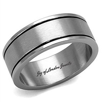 Men's Stainless & Black Wedding Band Ring