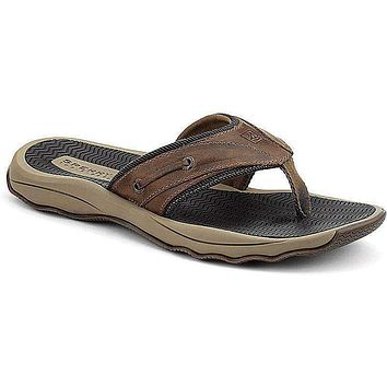 Men's Outer Banks Thong Sandal in Brown Leather by Sperry