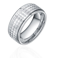 Stainless Steel 8mm Square Pattern Ring