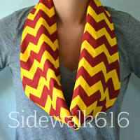 Maroon and Gold Chevron Infinity Scarf