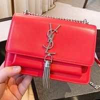 Hipgirls YSL New fashion leather chainshoulder bag crossbody bag handbag Red