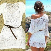 Dress Mini One Size Sexy Women Lace Crochet Dress Summer Beach Dress See Through drop shipping designer clothes