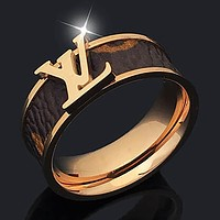 LV Louis Vuitton new personality beveled lettering fashion couple men and women ring #2