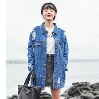 Women's New Fashion Hole Denim Jackets Street Style Long Sleeve Vintage Jean jacket Denim Loose Spring Autumn Denim Coat