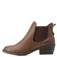Camel Side-Gored Low Heel Chelsea Booties by Charlotte Russe