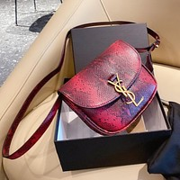 YSL new snake print saddle bag retro single shoulder messenger bag