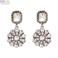 JUJIA Good quality New arrive 2017 Trend fashion women simple small crystal vintage statement Earrings for women jewelry
