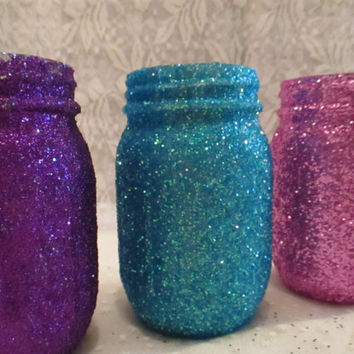 Easter Dinner Decoration Glitter Mason Jar pick your colors and size Wedding Flower vase Bridal Shower Baby Anniversary Engagement Candle