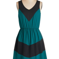 ModCloth Colorblocking Mid-length Sleeveless A-line Afternoon of Architecture Dress in Teal