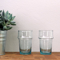 Hand Blown Recycled Moroccan Glass Set (6x) - 4 inch