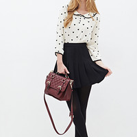FOREVER 21 Heart Print Top Cream/Black