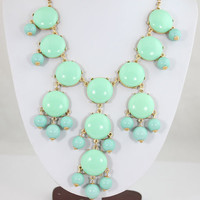 NEW Mint Green Bubble Necklace,Bib  Necklace,Statement Necklace Smooth Bubble Necklace(FN0655-Mint Green)