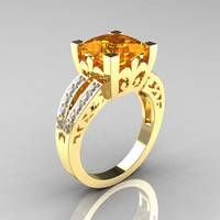 French Vintage 14K Yellow Gold 3.8 Carat Princess Citrine Diamond Solitaire Ring R222-YGDCI