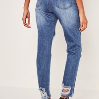 Missguided - Blue Riot High Rise Ripped Jeans